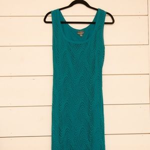 Roz & Ali Turquoise Eyelet Lace Long Dress, sz 12
